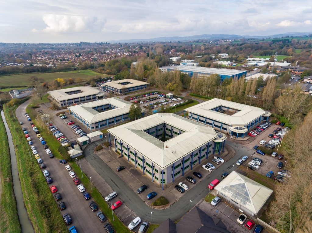 Aerial view of Office Business Park in St Mellons Town in Cardiff, Wales UK
